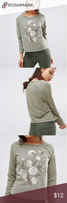 ASOS Embroidered Crop Sweater ASOS sage green cropped, crew neck sweater with floral embroidery detail   Petite, US Size 2 ASOS Sweaters Crew & Scoop Necks