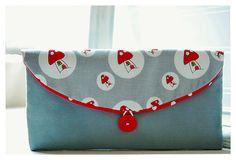red mushroom grey Bridesmaids Clutch gray Bridal by hoganfe,