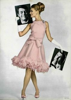 That ruffle bottom dress hem chiffon perfection what a glam outfit for a wedding or a prom dress idea! Jean Patou the dress Sixties Fashion, Mod Fashion, Vintage Fashion, Sporty Fashion, Fashion Women, 1960s Dresses, Vintage Dresses, Vintage Outfits, Vintage Clothing