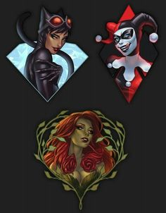 Catwoman, Poison Ivy, and Harley Quinn Batgirl, Catwoman Comic, Batman Comic Art, Gotham Batman, Batman Robin, Marvel Dc Comics, Dc Comics Art, Comics Girls, Harley Quinn Drawing