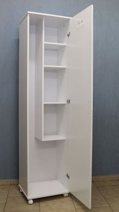 Great cupboard with room for mops, broom, vacuum and cleaning products.
