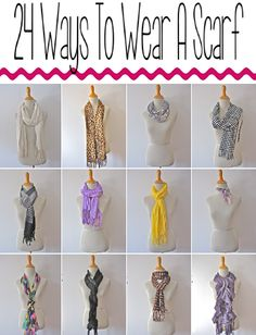 24 ways to wear a scarf http://likelovestyle.blogspot.com/2013/01/24-ways-to-wear-scarf.html