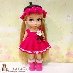 Disney Baby Dolls, Disney Princess Dolls, Baby Disney, Crochet Doll Clothes, Knitted Dolls, Doll Clothes Patterns, Disney Animators, Disney Animator Doll, Crochet Strawberry