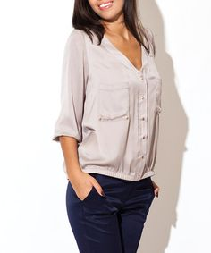 Take a look at this Katrus: Beige Silk-Look Blouse by Katrus on #zulily today!