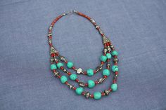 Collectable Morrocan tribal necklace, handmade, 3 strand ethnic necklace,