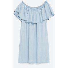 OFF - THE-SHOULDER DENIM DRESS #joinlife-DRESSES-WOMAN | ZARA United... (€19) ❤ liked on Polyvore featuring dresses, zara, off shoulder denim dress, blue color dress, blue off shoulder dress, blue denim dress and denim dress