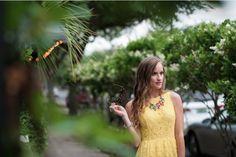 #kensie Clothing yellow lace sundress on #Morrellsarmoire Fashion Blog. J.crew color mix statement necklace. #MauiJim Kholohe sunglasses