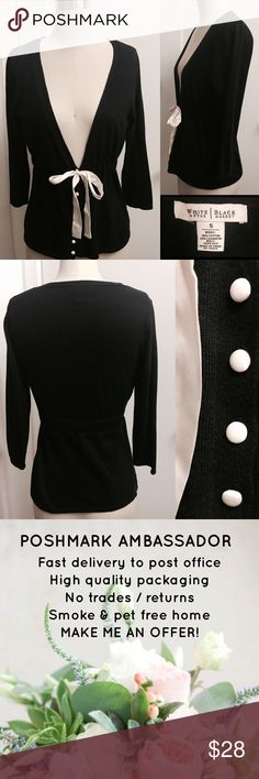 """WHITE HOUSE BLACK MARKET cute black sweater WHITE HOUSE BLACK MARKET cute black sweater, cashmere blend, with white silk belt/tie and buttons.  3/4 sleeve, approx 24"""" long, great condition (very minor piling). White House Black Market Sweaters Cardigans"""