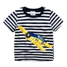 Baby Boy/Boy's Cotton Top Aircraft Patterned Stripe Tee, 41% discount @ PatPat Mom Baby Shopping App