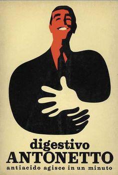 Armando Testa creation for Digestivo Antonetto (Digestive Anti-Acid) Vintage Italian Posters, Vintage Advertising Posters, Old Advertisements, Advertising Design, Vintage Labels, Vintage Ads, Vintage Designs, Retro Ads, Luhan