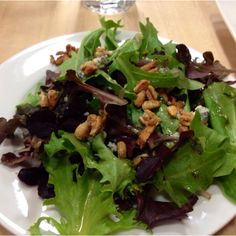Baby Greens w/Candied Pine Nuts and Lemon Vinegarette via Viking Cooking School
