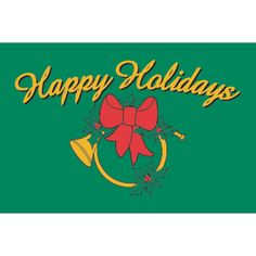 """3x5 """"Holiday Horn"""" with Green Background Seasonal Flag; Nylon H&G - Flags A Flying"""