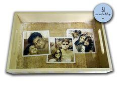 Hi Everyone. Welcome to Peppertree Prints!      Hand painted hand crafted wooden serving tray depicting precious moments of your life, distressed to have vintage look .    After purchase you need to email three pictures of good resolution. I will get the final design approved before the tray is crafted.    Perfect as a gift to anyone or yourself.     The wood characteristics and distressing will vary. We use reclaimed wood that has character with knots, holes and rough edges and this will…