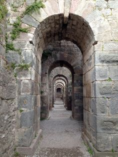 """Vaulted underground corridor at Pergamum's Asclepion or ancient """"medical centre"""", became prominent during the reign of Galen (AD Evil Unicorn, Roman Republic, Roman Architecture, Turkey Travel, Secret Places, Old World Charm, Vaulting, Corridor, Ancient Greek"""