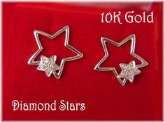 10K White Gold ~ Pave Diamond Star Pierced Earrings - Wedding Romantic Anniversary Birthday Gift - FREE SHIPPING by FindMeTreasures on Etsy