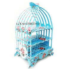 LolaSaturdays Birdcage 3 tier pastry cupcake stand blue * Click on the image for additional details.