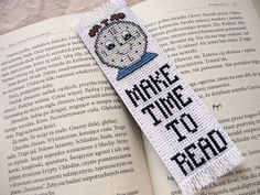 Cross stitch bookmark - Make time to read, embroidered bookmark, gift for readers, book lover by MariAnnieArt on Etsy