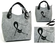 Felt bag with one cat by AriadiModo on Etsy Fleece Projects, Angry Cat, Felt Diy, Cloth Bags, Beautiful Bags, Bag Making, Reusable Tote Bags, Embroidery, Sewing