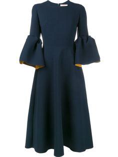 Roksanda 钟形袖绉纱连衣裙