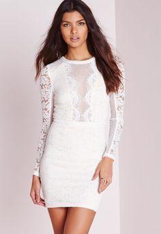 Fishnet Insert Lace Bodycon Dress White - Dresses - Bodycon Dresses - Missguided