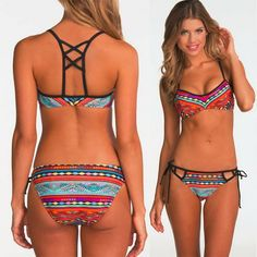 Spirited New Style Sexy Women Beachwear Print Push-up Padded Bra Beach Bikini Set Swimsuit Swimwear Popular Womens Swimsuits Biquini Fine Quality Sports & Entertainment Bikinis Set