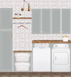 laundry room-design-board-inspiration-blue-gray-cabinets-pages-cement-tile-rusti. laundry room-design-board-inspiration-blue-gray-cabinets-pages-cement-tile-rustic-shelves-gold-arm-sconce Grey Laundry Rooms, Laundry Room Shelves, Laundry Room Remodel, Laundry Room Cabinets, Laundry Room Organization, Grey Cabinets, Laundry Room Design, Mud Rooms, Garage Laundry
