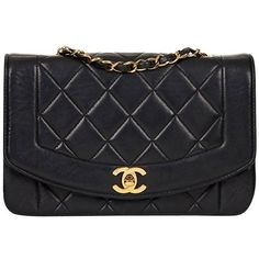 Preowned 1990s Chanel Black Quilted Lambskin Vintage Small Diana... (€2.605) ❤ liked on Polyvore featuring bags, handbags, black, structured shoulder bags, shoulder bag, quilted handbags, vintage handbags, chanel purse and chanel shoulder bag
