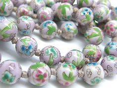 """Chinese Export Faux Cloisonne Necklace Powder Pink HP Knotted Porcelain 13mm Beads 25"""" teamvintageusa ecochic team"""