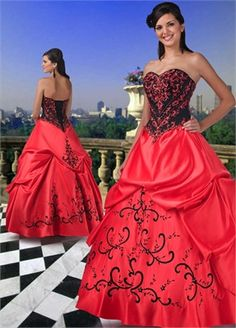 Ball Gown sweetheart Embroidery Floor-length with Ruffles Satin quniceanera dress QD008