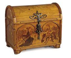 "Émile Gallé (1846-1904) - ""Coeurs de Janette"" Jewelry Casket. Carved Elm & Fruit Wood Marquetry Inlays, with Bronze Mounts. Nancy, France. Circa 1900. 10-7/8"" x 12"" x 7-1/4""."