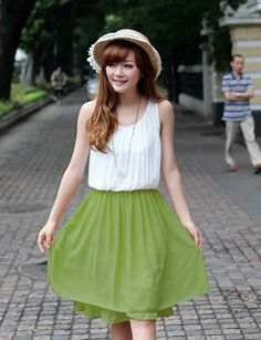 Chiffon Green Scoop Pleated Fashion Style Casual Dress #ShopSimple