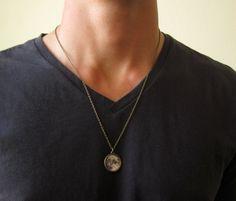 Men's Moon Necklace - Mens Necklace - Men's Bronze Necklace - Mens Jewelry…