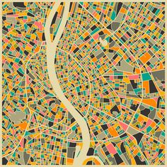 Budapest Retro Map Painting Print