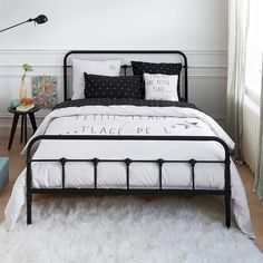 Asper metal bed without slats La Redoute Interieurs Bed Without Frame, Full Bed Frame, Cama Vintage, Home Bedroom, Bedroom Decor, Black Metal Bed Frame, Double Bed Designs, Steel Bed, Metal Beds