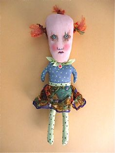 creepy girl clown doll | Flickr - by Sandy Mastroni. Love her unconventional art!