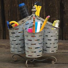 Olive Bucket Utensil Organizer