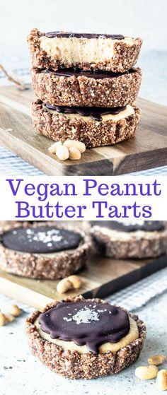 Vegan Peanut Butter tarts. Coconuty crust, creamy cashew and peanut butter filling. Topped with chocolate ganache and sea salt. #peanutbutter #tart #vegan #vegantart #veganganache