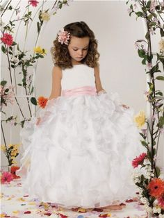Ball Gown Scoop Floor-Length Organza Flower Girl Gown With Ruffles