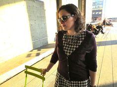 Houndstooth dress on girl walking the Highline