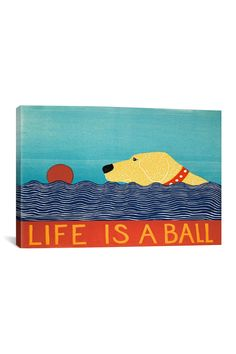 Life Is A Ball Yellow by Stephen Huneck Canvas Print