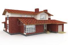 3D Haus generischen gerendert auf weißem Hintergrund