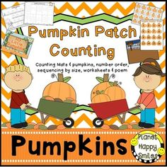"""This file has Pumpkin Counting activities for your students.  It concentrates on counting and recognizing numbers 1-20.There is a cute poem, """"10 LIttle Pumpkins"""", that you can use during Shared Reading to emphasize number order and counting.  You can also print it, laminate and bind together to make a book.There are 2 sizes of pumpkin counting mats:  Full page size and half page size."""