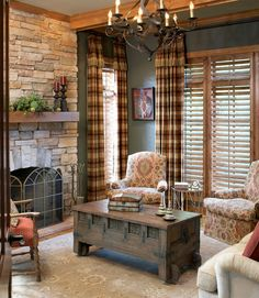 Innovative plaid curtains in Living Room Traditional with Glass And Wrought Iron Coffee Table next to Plantation Shutter Curtain alongside Plantation Chair and Antique Wrought Iron Gates
