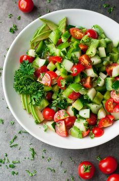 You're just a few minutes away from a tasty restaurant-quality salad with this healthy Tomato Cucumber and Avocado Salad recipe. It's light, fresh, and full of flavor!