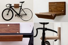 The Make Bike Rack is unpresumptuous and cleanly designed (in solid walnut or maple) to hold your bike when you're not out riding.