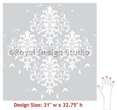 The Foliate Damask Wall Stencil and its decorative leaf like wall art motifs easily create a designer wallpaper look but with the freedom of choosing your own c