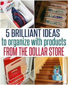 Storage and Organization ~ Who says organizing your home has to be expensive? Not when the dollar store is around! Check out these five home organization ideas that cost only a buck!