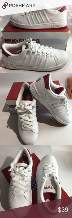 NIB women's white/ burgundy K-Swiss sneakers Burgundy emblem/ tread and shoe tongue. Super comfortable. True to size. Box included K-Swiss Shoes Athletic Shoes