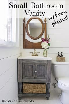 Tutorial for how to build a small bathroom vanity with turned legs from Osborne Wood and a lower shelf. Also featuring Delta Faucet. Free download of plans.