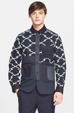 Junya Watanabe Zigzag Print Canvas Shirt Jacket available at #Nordstrom